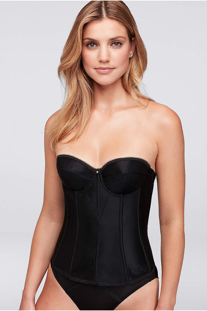 Dominique Satin Torsolette - This super-shaping, corset-style torsolette provides complete figure control,