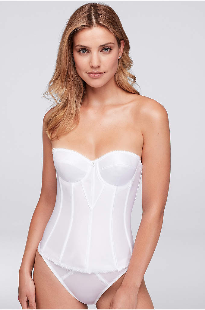 Dominique White Satin Torsolette - This super-shaping, corset-style torsolette provides complete figure control,
