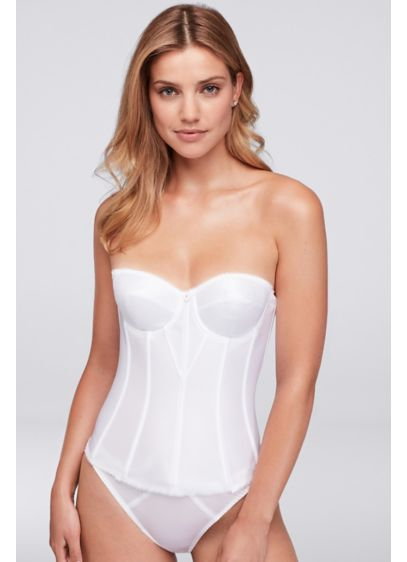 Dominique White Satin Torsolette - Wedding Accessories