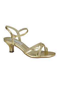 Touch Ups Black Sandals Melanie Metallic Low Heel Quarter Strap