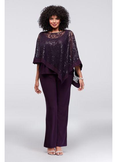 Long Purple Soft & Flowy RM Richards Bridesmaid Dress