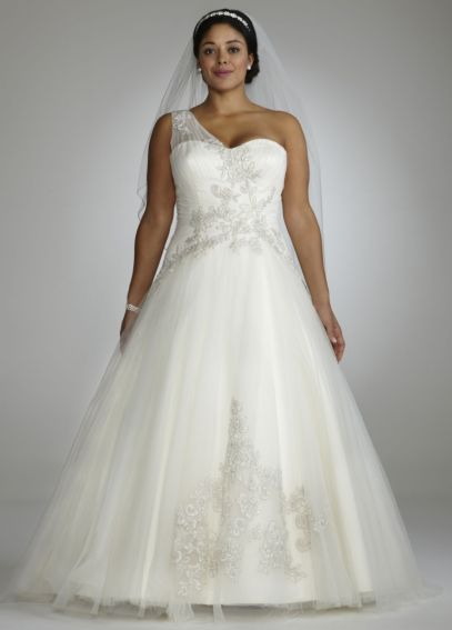 One Shoulder Tulle Ball Gown with Lace Appliques 8CKP421