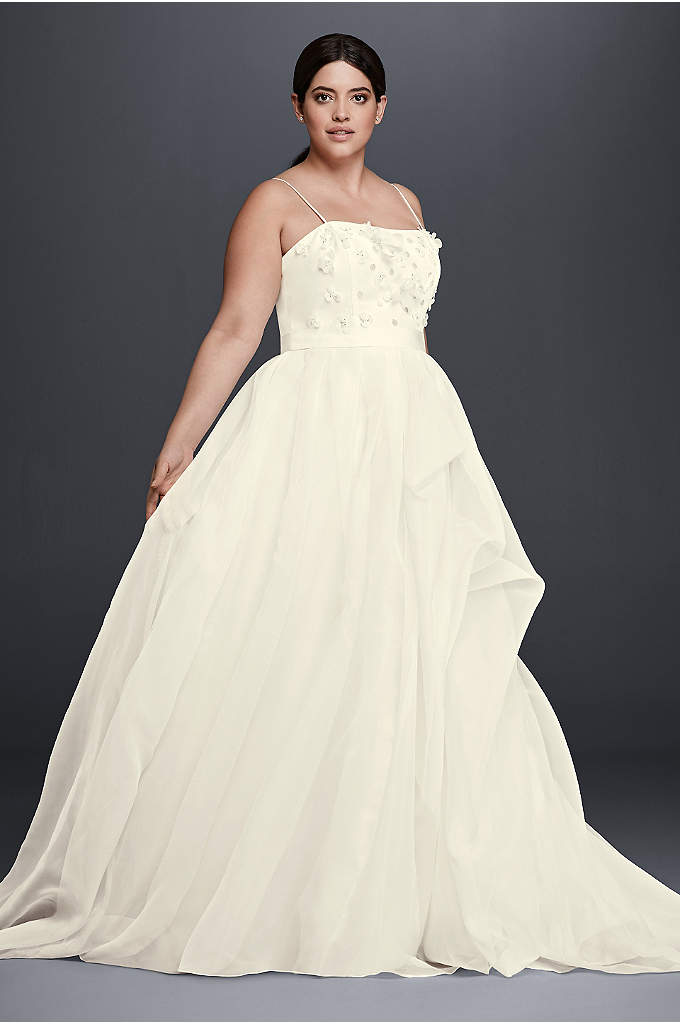 Floral Organza Plus Size A-Line Wedding Dress - This lightweight organza wedding dress takes a flirty
