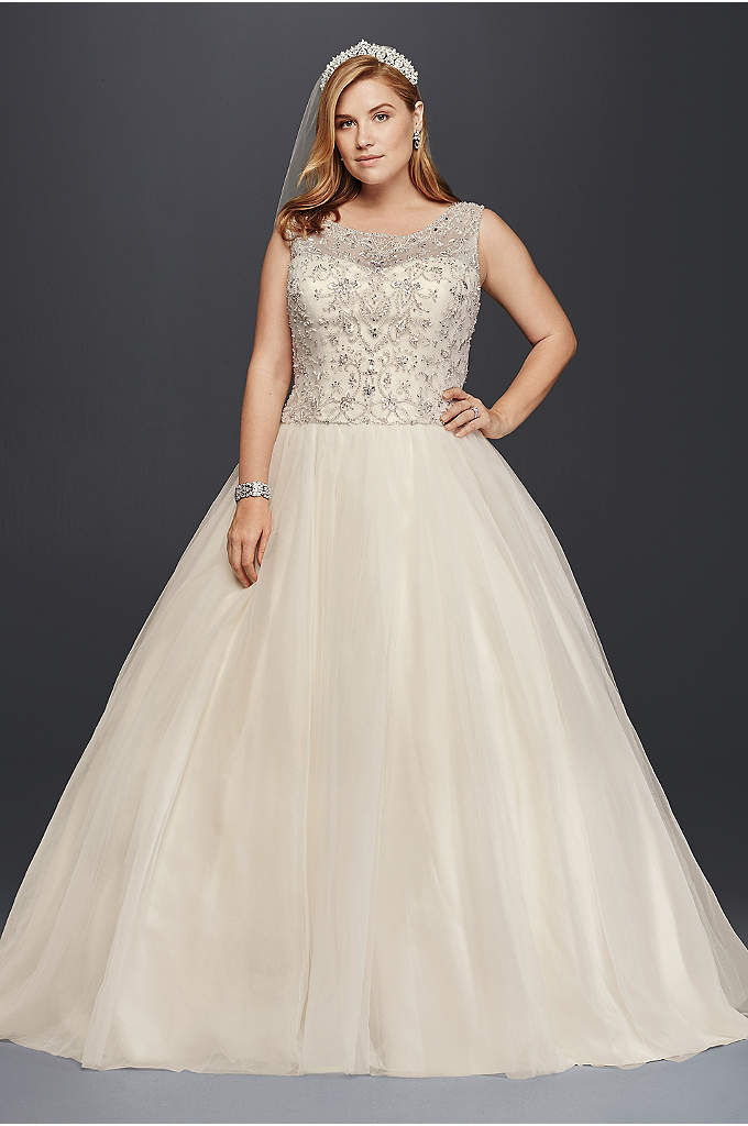 Oleg Cassini Plus Size Beaded Wedding Ball Gown - There's something unmistakably royal about the silhouette you'll