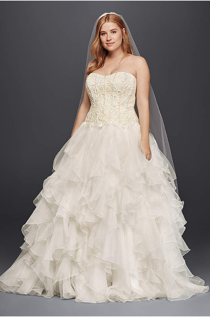 Bon Oleg Cassini Organza Ruffle Skirt Wedding Dress   Picture Your Guestsu0027  Reactions When You Arrive