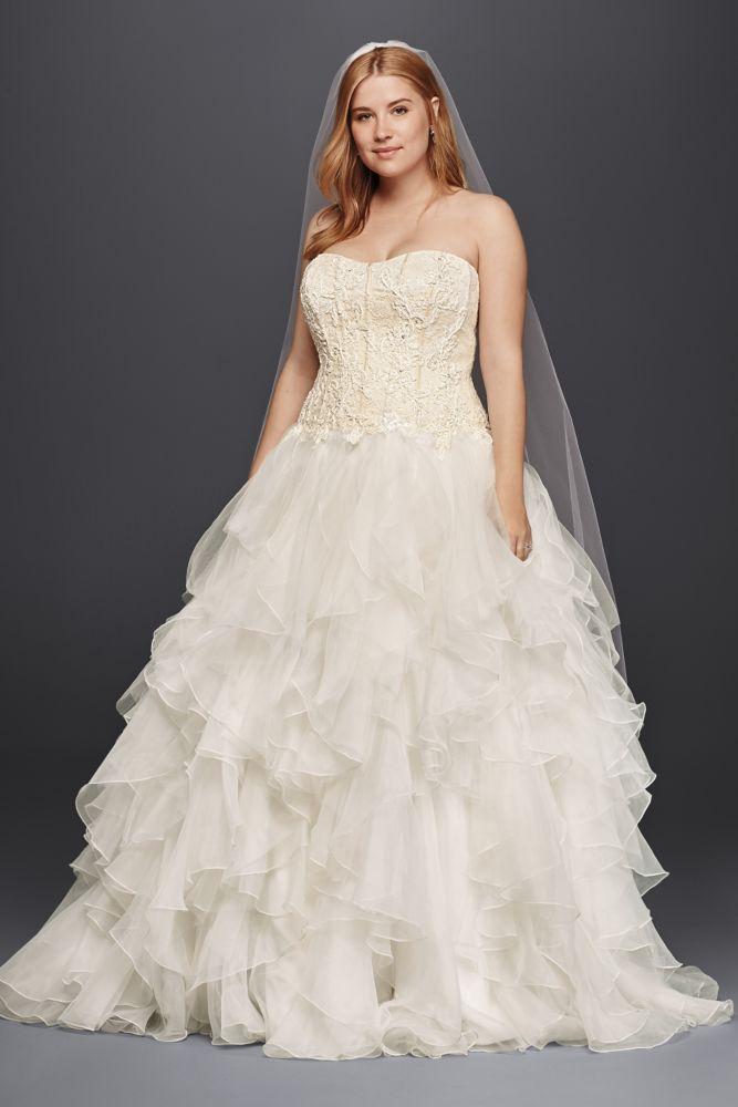 Oleg cassini oleg cassini organza ruffle skirt wedding for Oleg cassini champagne wedding dress