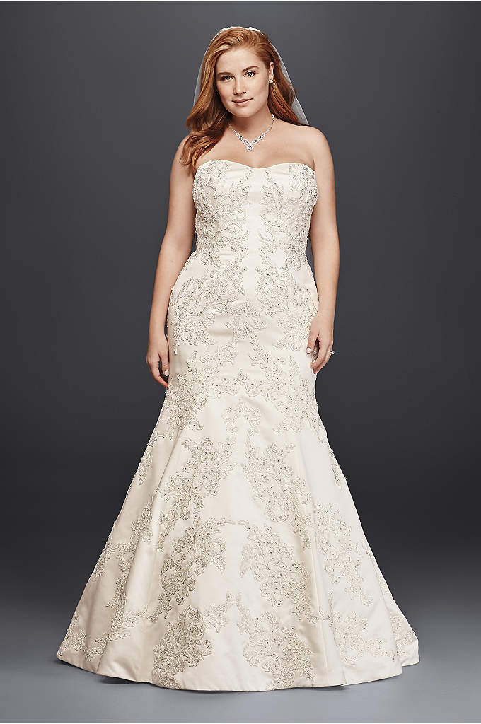Oleg Cassini Satin Trumpet Wedding Dress with Lace - This satin strapless sweetheart plus-size trumpet gown is