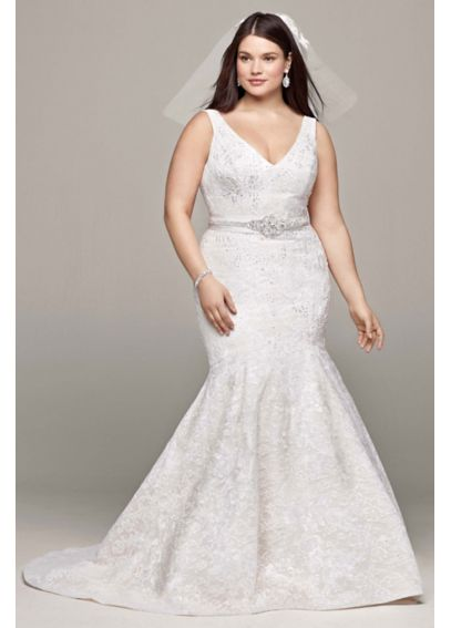 All Over Lace Trumpet Gown with Deep V Neckline 8CWG621