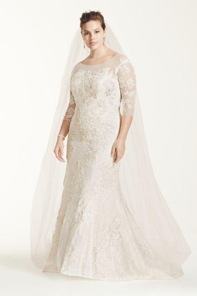 Oleg Cassini 3/4 Sleeve Lace Trumpet Wedding Dress | David ... Lace Trumpet Wedding Dresses With Sleeves