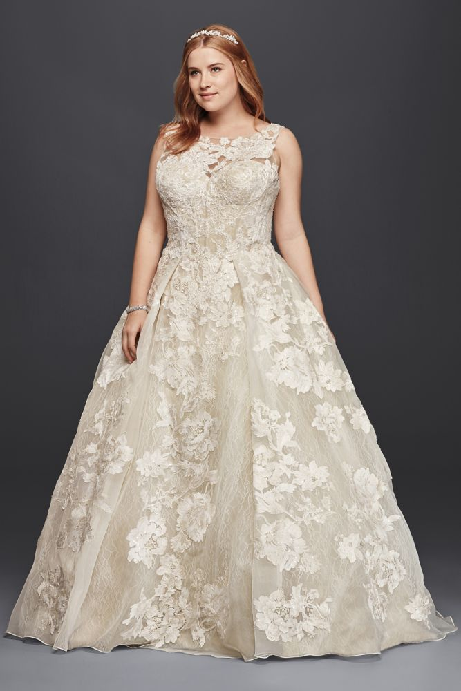 Oleg cassini oleg cassini tank lace wedding dress with for Oleg cassini champagne wedding dress