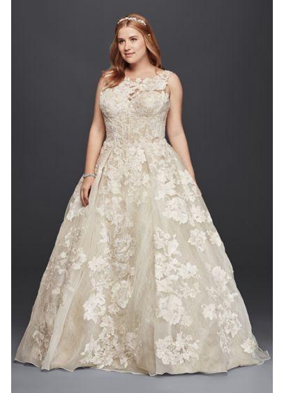Oleg cassini tank lace wedding dress with beads david 39 s for Oleg cassini champagne wedding dress