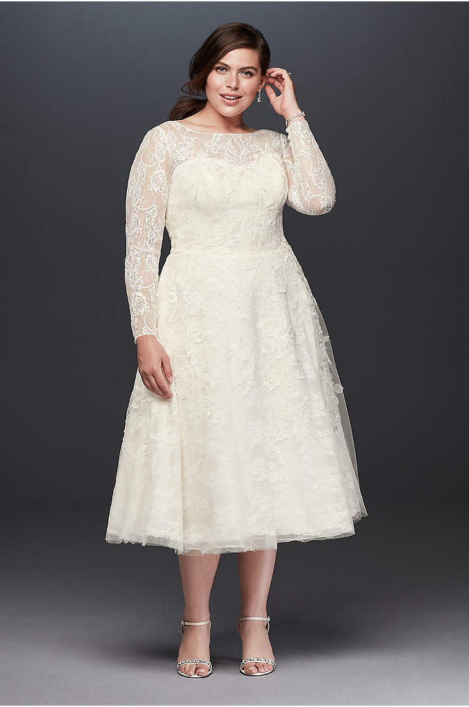Oleg Cassini Long Sleeved Tea Length Wedding Dress - This stunning gown has vintage inspiration that would