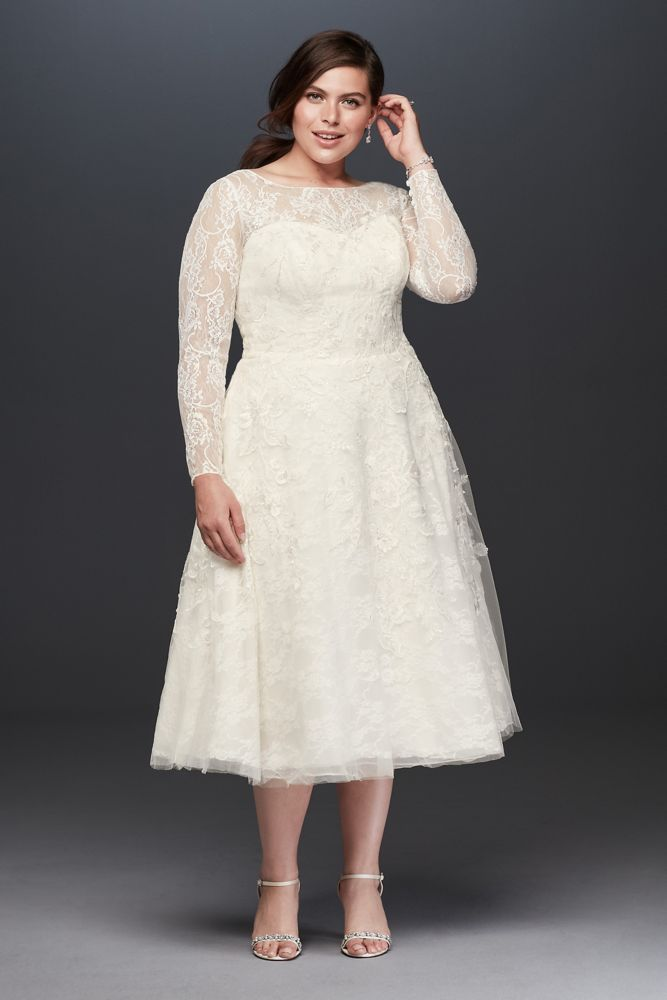 Oleg Cassini Oleg Cassini Long Sleeved Tea Length Wedding