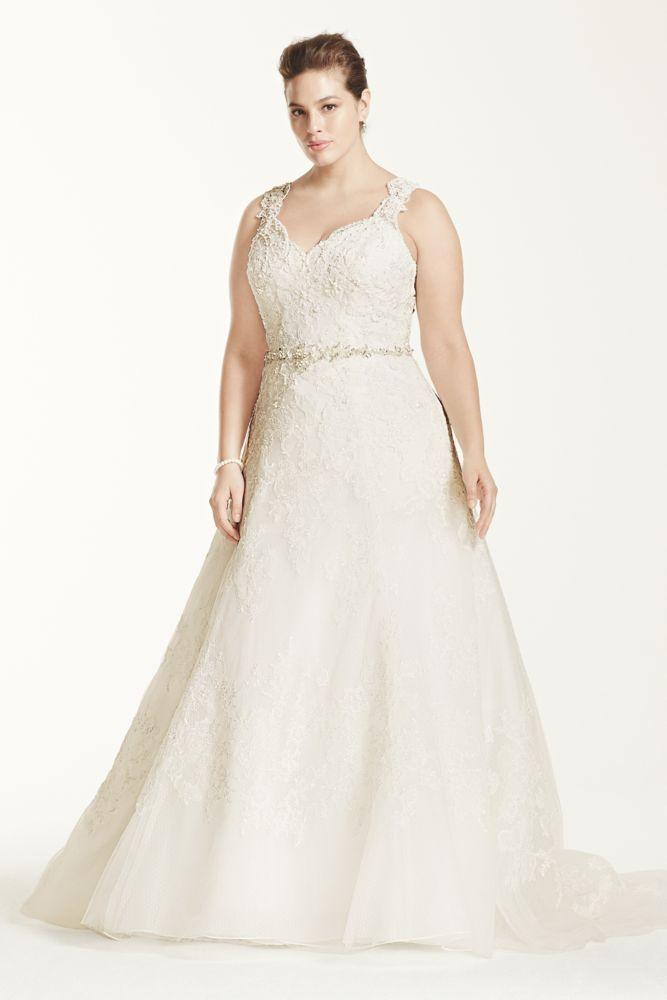 Oleg cassini oleg cassini a line wedding dress with beaded for Need to sell my wedding dress