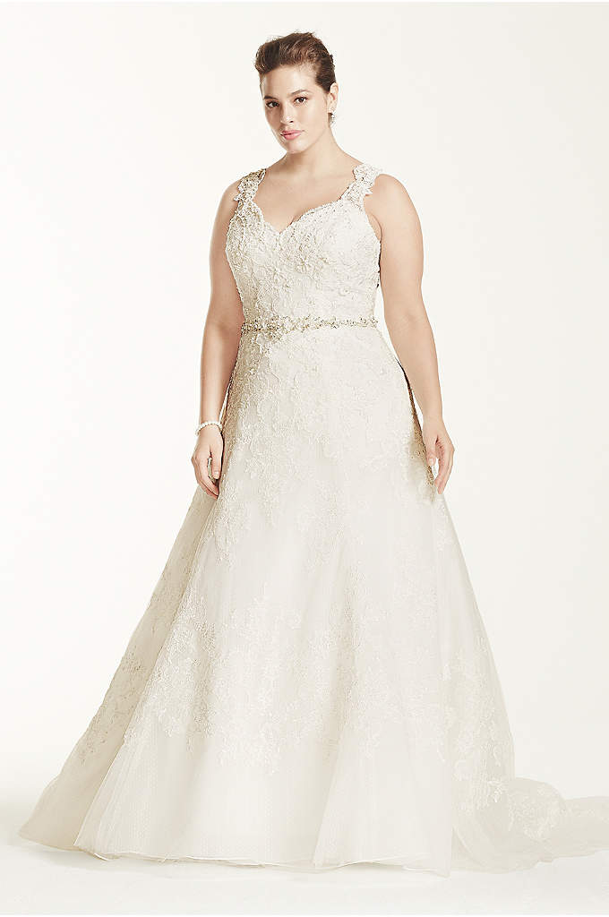 Oleg Cassini A Line Wedding Dress with Beaded - A classic and chic gown for a sophisticated