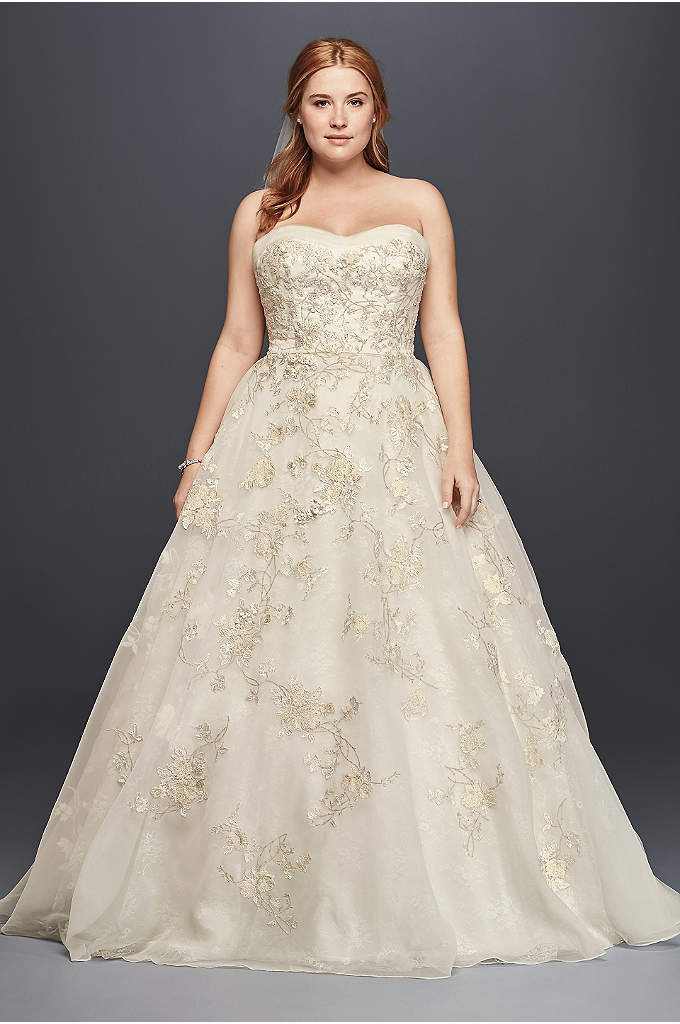 Oleg Cassini Organza Wedding Dress with Beading - Who says life can't be a fairytale? For