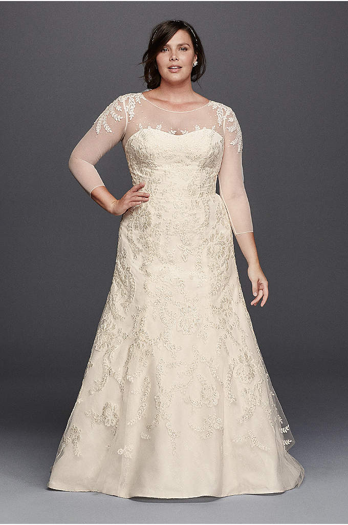 Oleg Cassini Plus Size Wedding Dress with Sleeves - Feminine and elegant, this strapless trumpet gown is