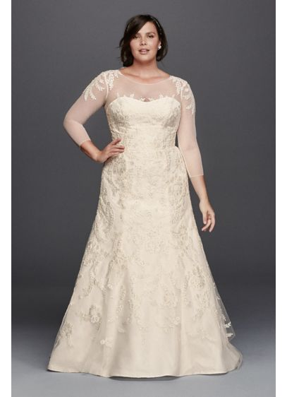 Oleg cassini plus size wedding dress with sleeves david for Plus size trumpet wedding dress with sleeves