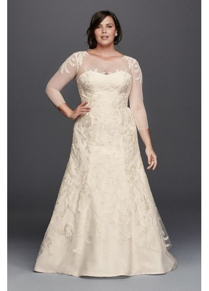 Oleg cassini plus size wedding dress with sleeves davids for Plus size trumpet wedding dress with sleeves