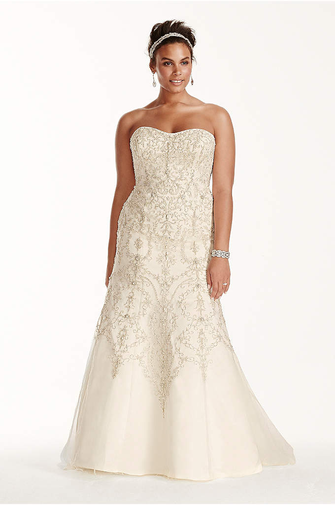 Oleg Cassini Tulle Beaded Mermaid Wedding Dress - This strapless mermaid dress will have you looking