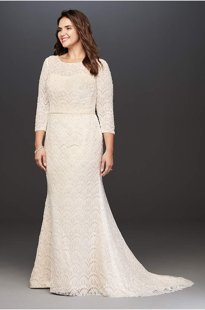 Oleg Cassini Boatneck 3/4 Sleeved Wedding Dress - Take style and sophistication to the next level!