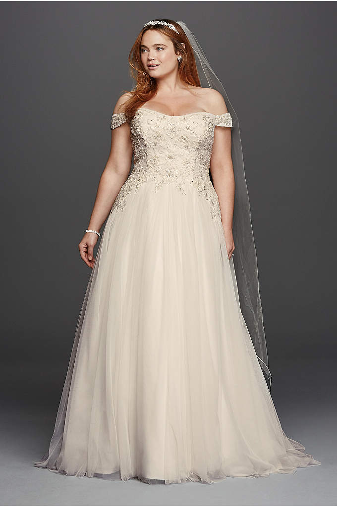Oleg Cassini Tulle Plus Size Wedding Dress - Off-the-shoulder swag sleeves add romance to this classic