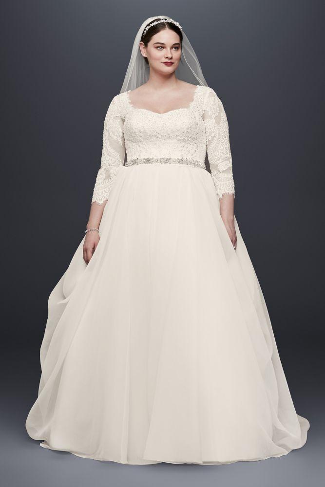 aa6bb06b47c Oleg Cassini Plus Size Beaded Lace Wedding…