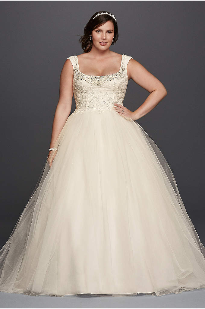 Oleg Cassini Off the Shoulder Lace Wedding Dress - Inspired by estate jewelry and sewn with seven