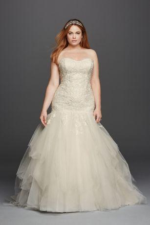 Lovely Strapless Sweetheart Tulle Plus Size Wedding Dress
