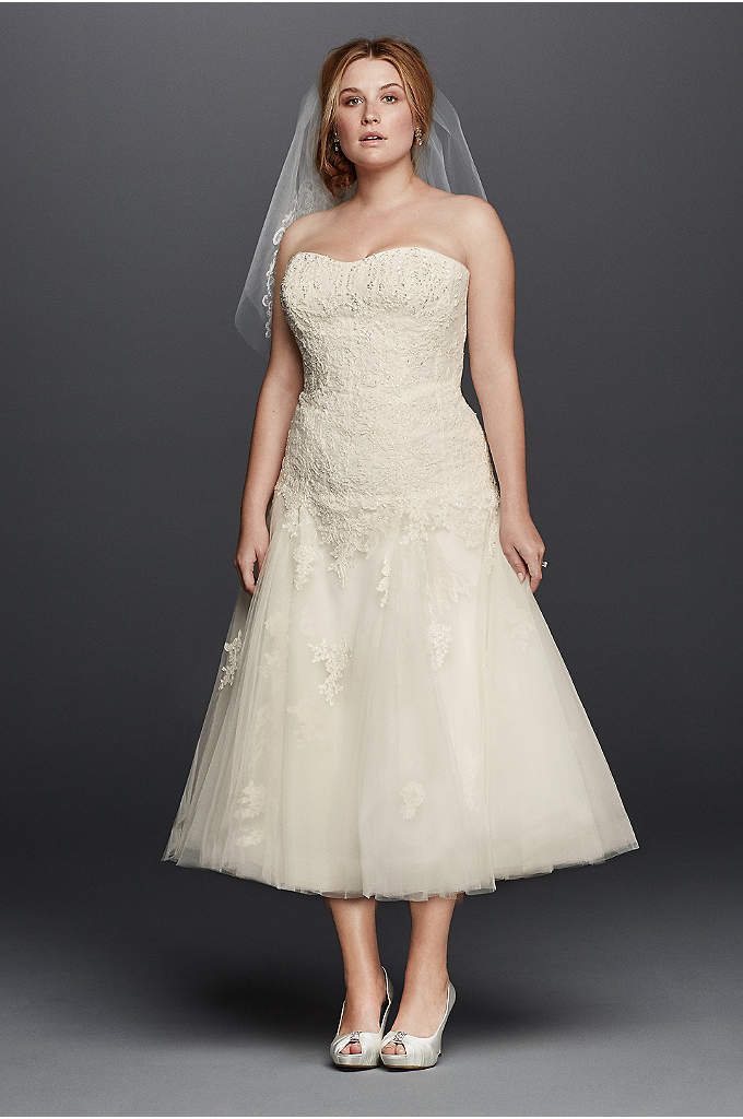 Oleg Cassini Tea Length Plus SizeWedding Dress - Short wedding dresses make a statement of their