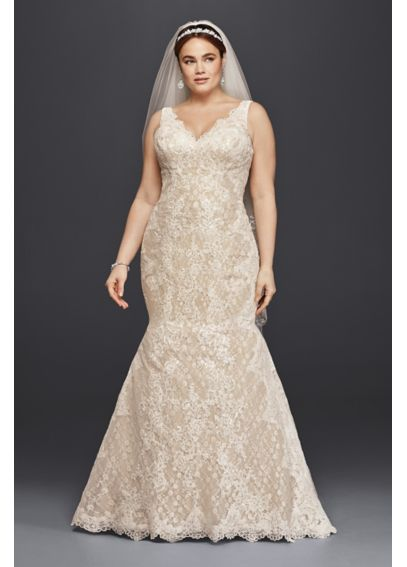 Oleg Cassini Plus Size Lace Trumpet Wedding Dress 8CWG747