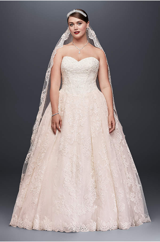 Plus Size Wedding Ball Gown with Lace Appliques - Looking for a classic wedding dress with romantic