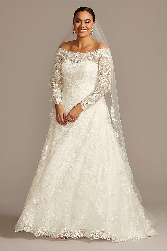 Off-The-Shoulder Plus Size A-Line Wedding Dress - Elegant and opulent, the lace design of this