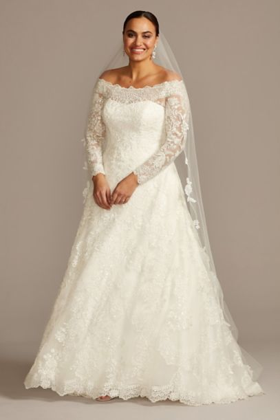 off-the-shoulder plus size a-line wedding dress | david's bridal