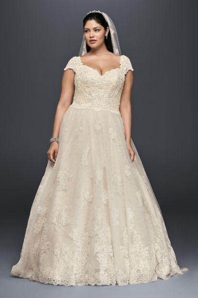 Cap Sleeve Lace Plus Size Ball Gown Wedding Dress - Davids Bridal