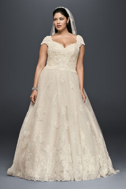 cap sleeve lace plus size ball gown wedding dress   david's bridal