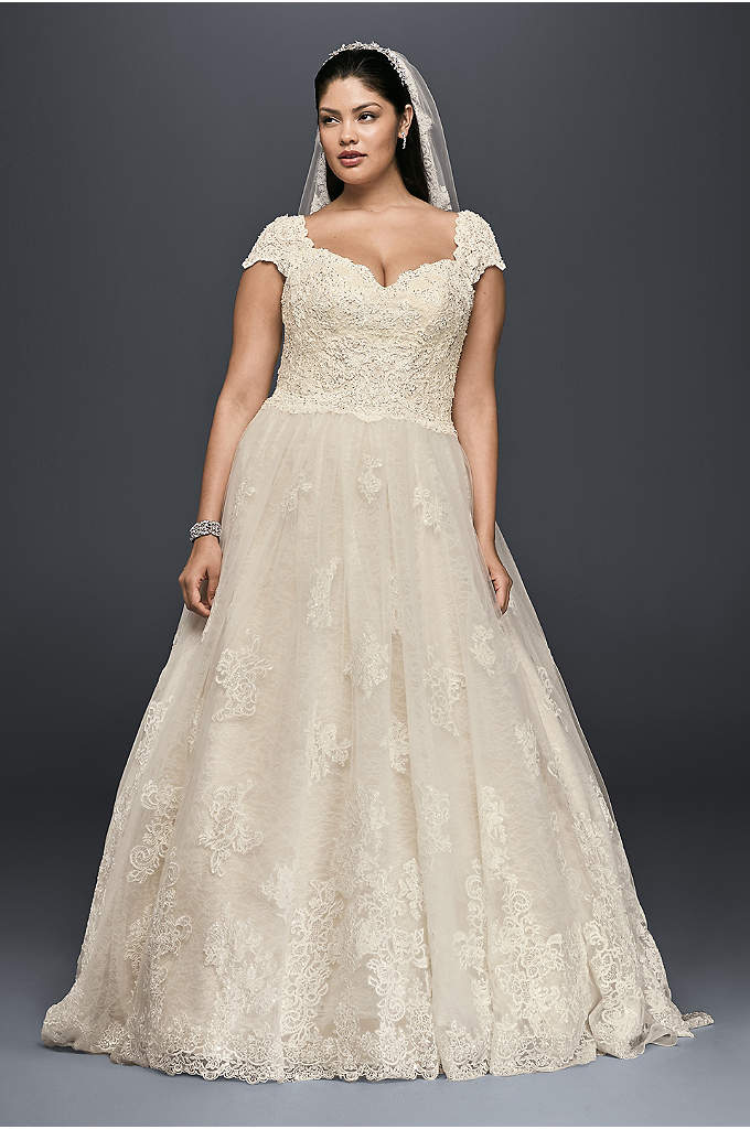 Cap Sleeve Lace Plus Size Ball Gown Wedding - This lovely cap sleeve ball gown is the