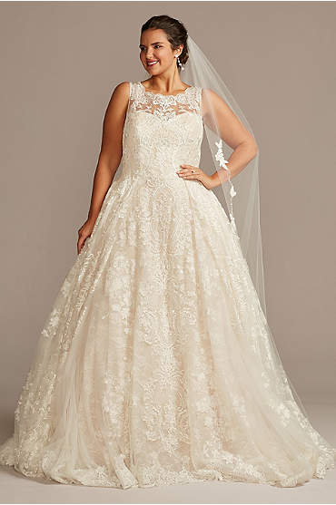 Lace Plus Size Wedding Dress with Pleated Skirt