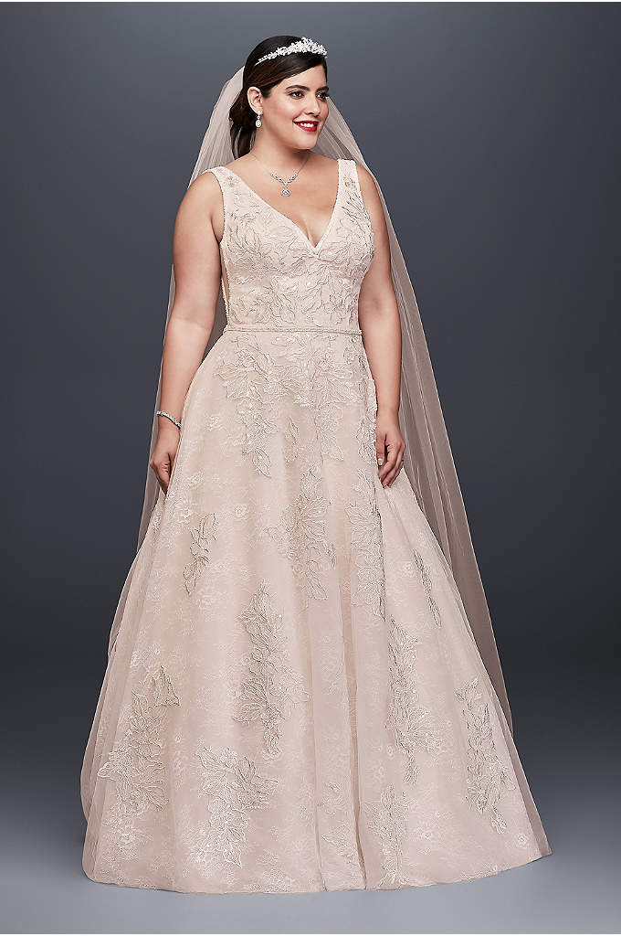 Appliqued Tulle-Over-Lace Plus Size Wedding Dress - Crafted of tulle over lace for added dimension,