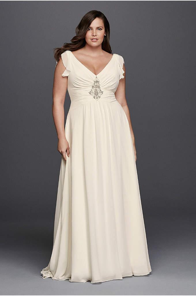 V-Neck Flutter Cap Sleeve Plus Size Wedding Dress - Define elegance in this whimsical chiffon wedding dress