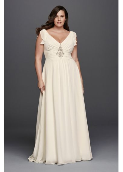 V-Neck Flutter Cap Sleeve Plus Size Wedding Dress 8JP341601