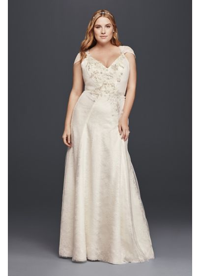 Plus size lace sheath wedding dress with flowers david 39 s for Plus size sheath wedding dress