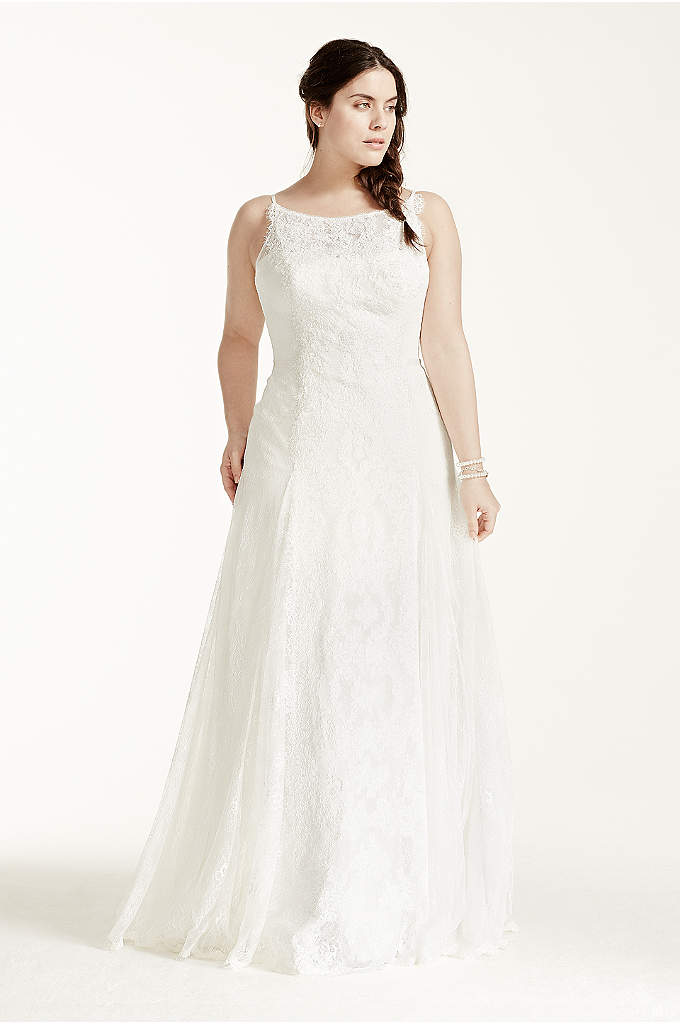 Melissa Sweet High Neck Plus Size Wedding Dress - This stunning lace trumpet gown is sure to