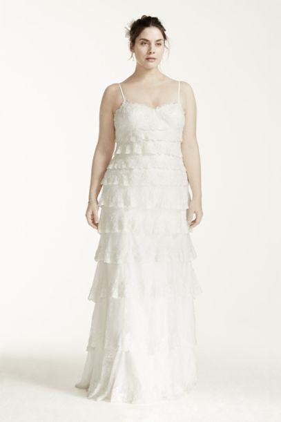 melissa sweet tiered lace plus size wedding dress | david's bridal