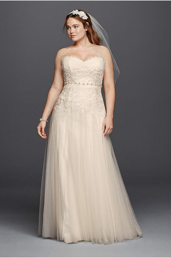 Melissa Sweet Beaded Plus Size Wedding Dress - Timeless and elegant, this strapless sweetheart sheath will