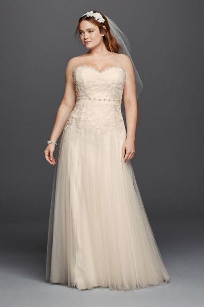 melissa sweet beaded plus size wedding dress   david's bridal