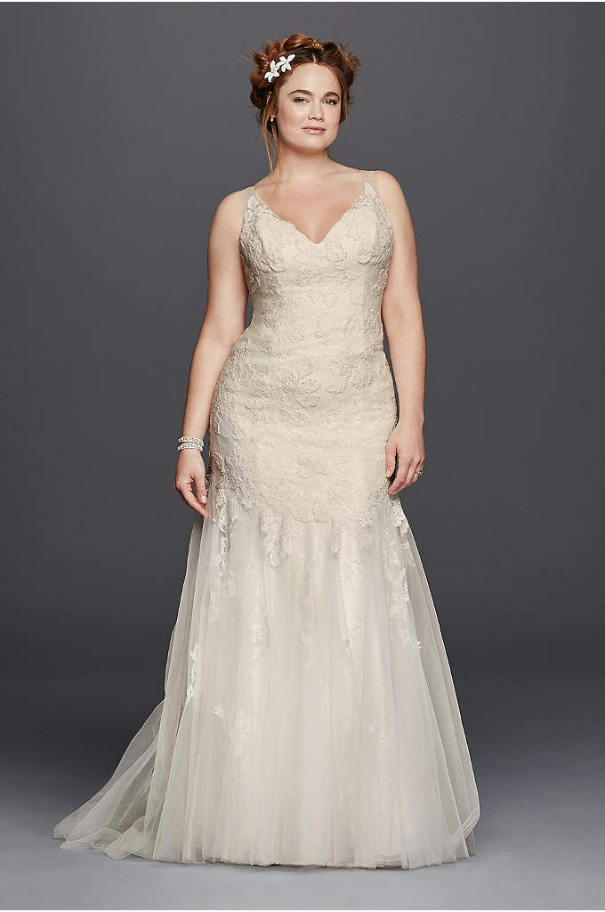 Melissa Sweet Illusion Tank Wedding Dress - Softness and femininity reign in this dreamy lace