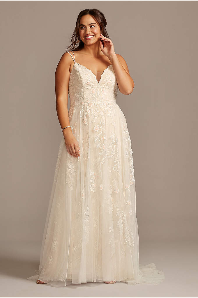 Scalloped A-Line Plus Size Wedding Dress - Appliqued with pearl-centered blush flowers, this scalloped-bodice plus
