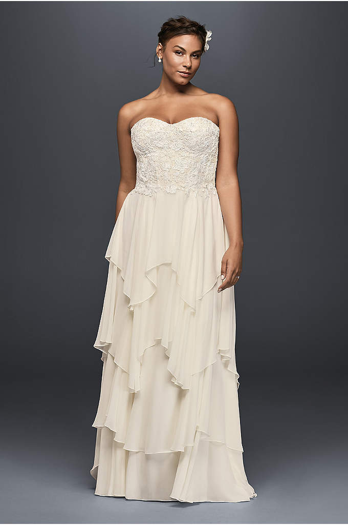 Tiered Chiffon Plus Size A-Line Wedding Dress - You will float down the aisle in this