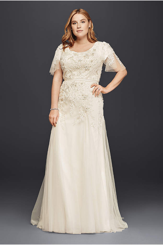 Plus Size Modest Wedding Dress with Floral Lace - Won't it be lovely to gracefully float down